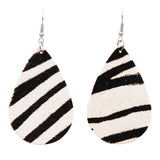 Women's Bohemian Faux Leather Teardrop Animal Print Dangle Earrings