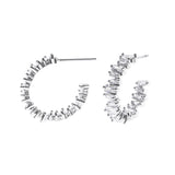 Asymmetrical Baguette Hoops with Premium Cubic Zirconia Hypoallergenic Post Back Earrings, .75