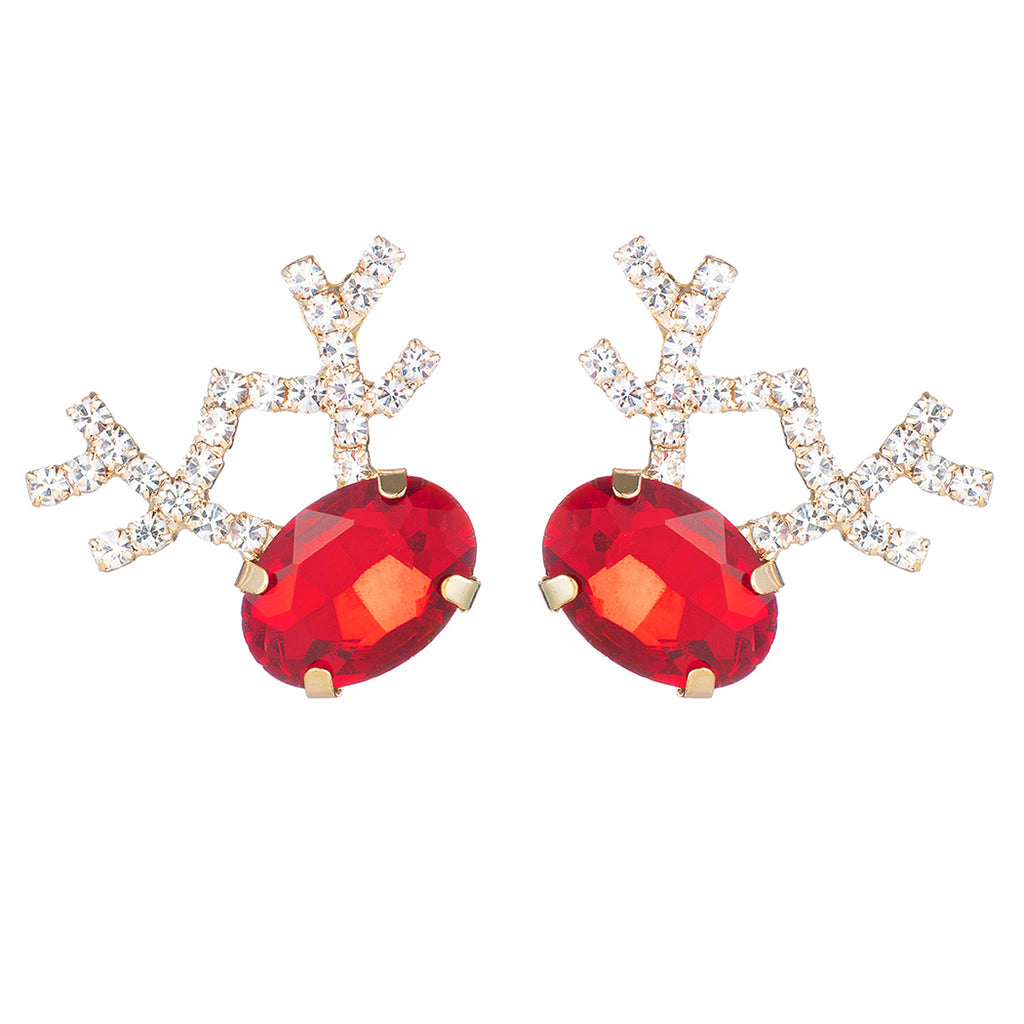 Women's Hypoallergenic Statement Red Glass Crystal Reindeer Antlers Holiday Christmas Post Back Earrings