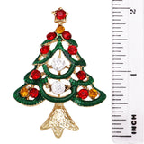 Traditional Sparkling Rhinestone Christmas Tree Holiday Brooch Pin