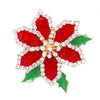 Sparkling Rhinestone Floral Christmas Poinsettia Holiday Brooch Pin