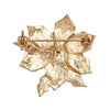 Sparkling Rhinestone Floral Christmas Poinsettia Holiday Brooch Pin Jewelry Gift