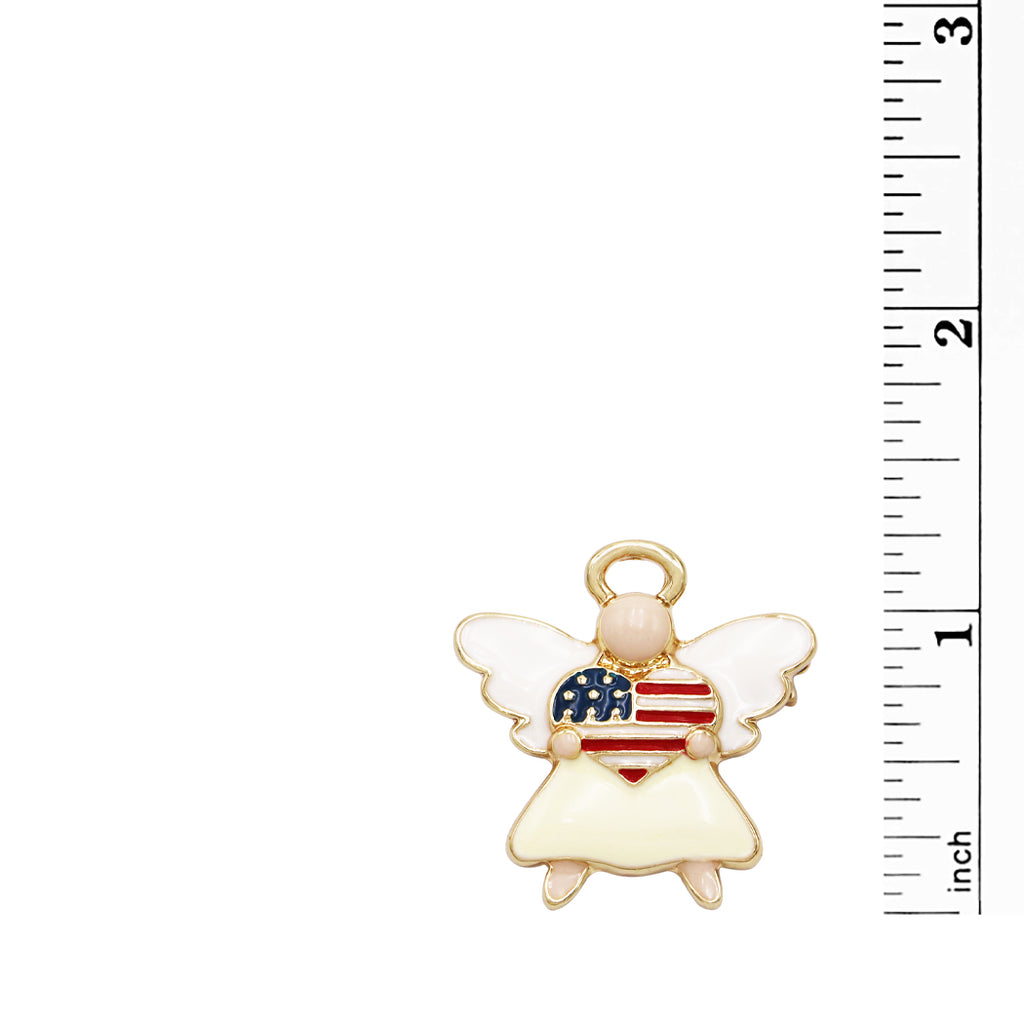 Women's Patriotic USA Flag Heart Enamel Angel Brooch Pin, 1.25""