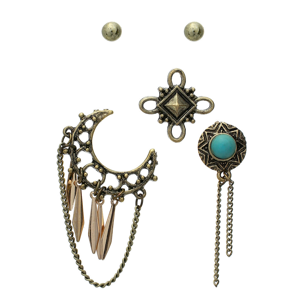 Simple Stud Earrings and Western Pin Set (Gold)