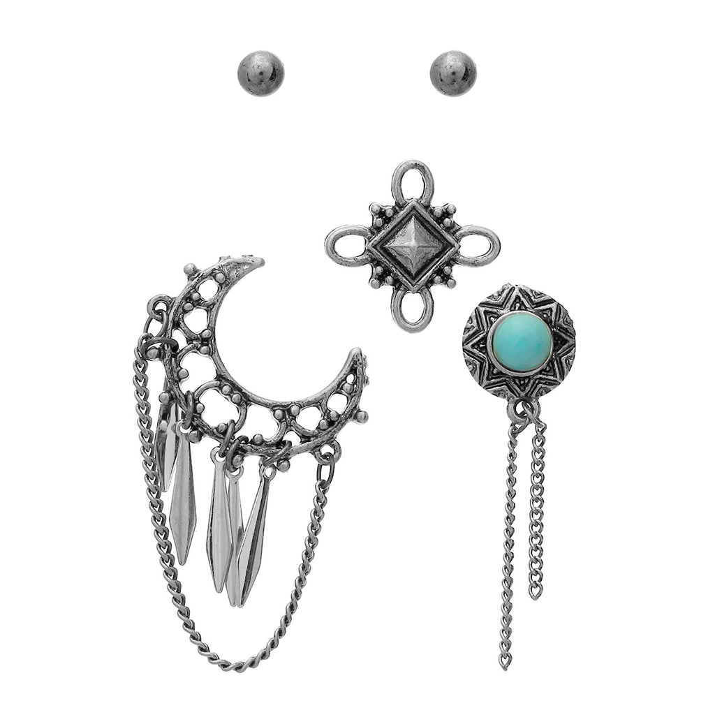 Simple Stud Earrings and Western Pin Set (Silver)