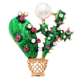 Women's Fun Crystal Pearl and Enamel Cactus Statement Brooch Lapel Pin, 1.5