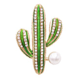 Women's Large Faux Pearl Christmas Cactus Statement Brooch Lapel Pin, 1.75