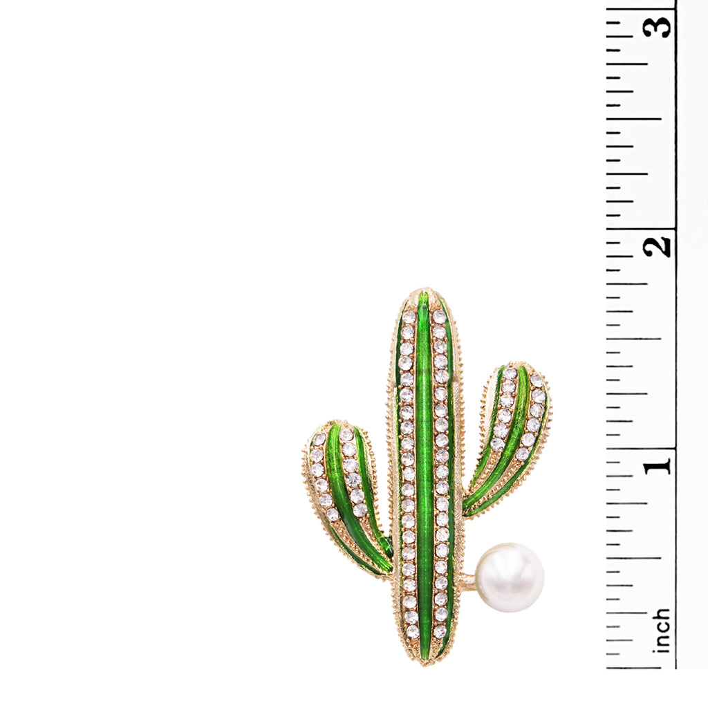 Women's Large Faux Pearl Christmas Cactus Statement Brooch Lapel Pin, 1.75""