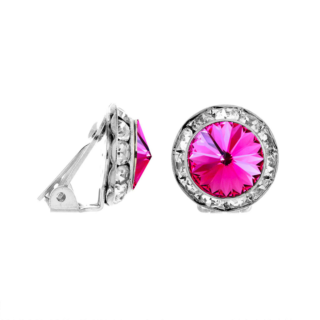Statement Clip On Earrings Made with Swarovski Crystals (Silver Tone/Fuchsia)