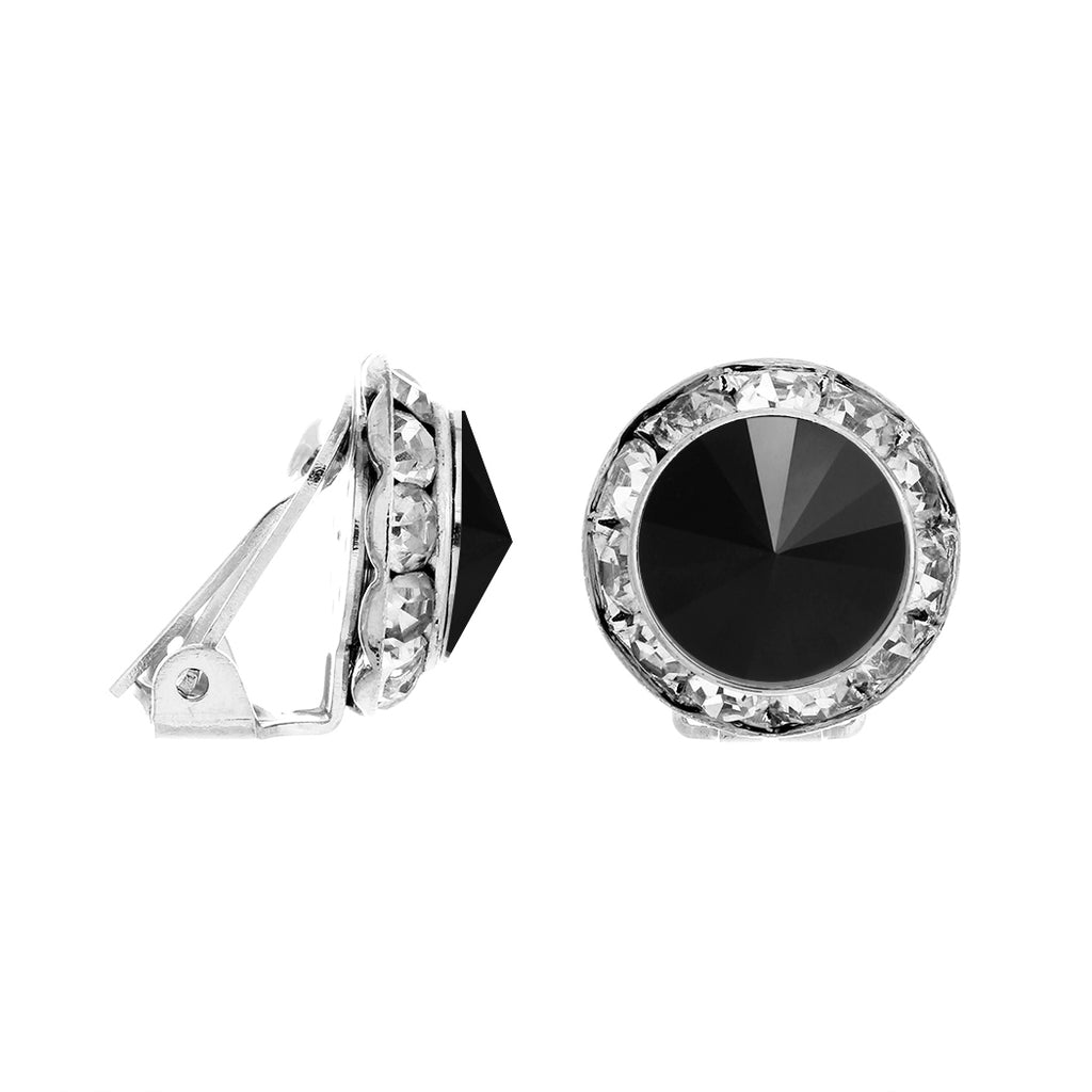 Statement Clip On Earrings Made with Swarovski Crystals (Silver Tone/Jet Black)