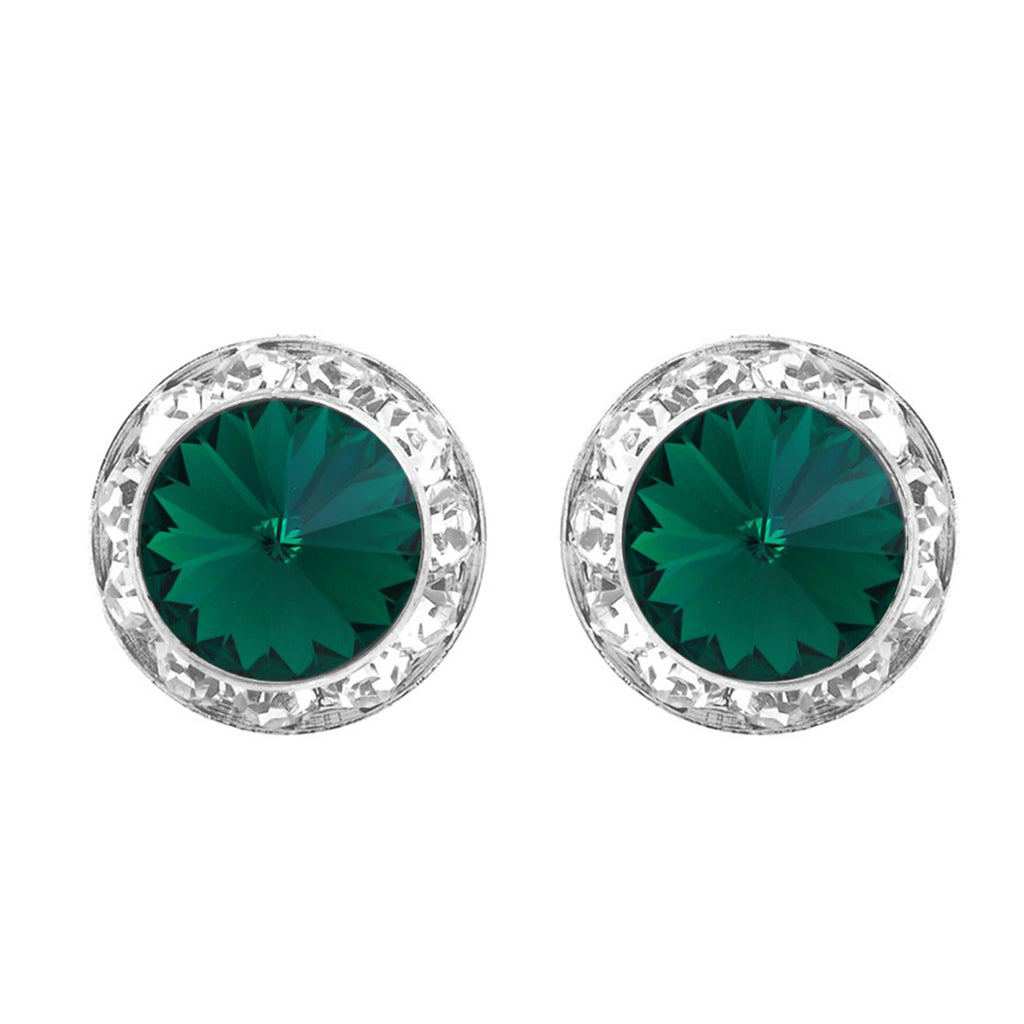 Hypoallergenic Post Back Halo Earrings Made with Swarovski Crystals (Green/Silver)