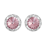 Hypoallergenic Post Back Halo Earrings Made with Swarovski Crystals (Light Rose Pink/Silver Tone)
