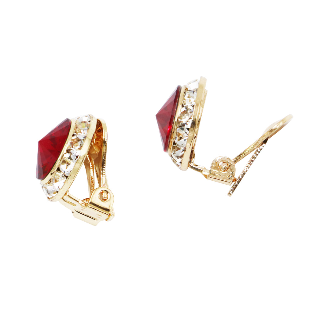 Red Swarovski Crystal Statement Clip On Earrings