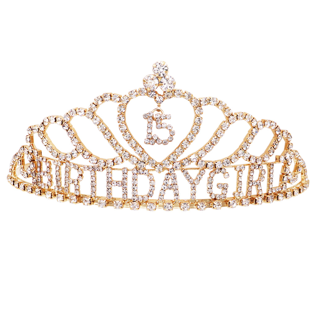 Rhinestone Birthday Tiara Crown 15 year Birthday (Quinceanera Gold Tone)