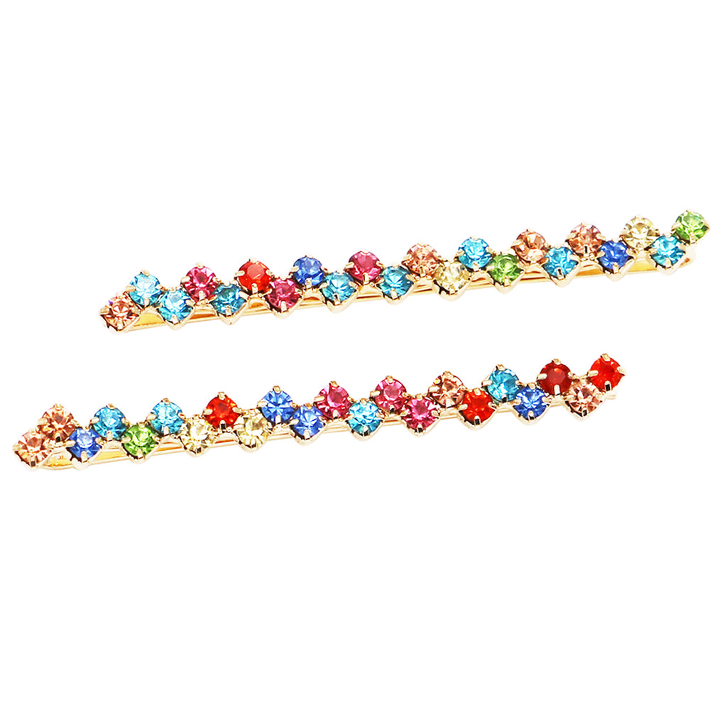 Hair Clip Sparkling Crystal Bobby Pins (Gold Tone/Multicolor)