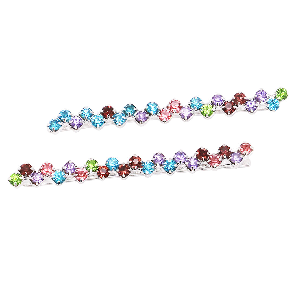 Hair Clip Sparkling Crystal Bobby Pins (Silver Tone/Multicolor)
