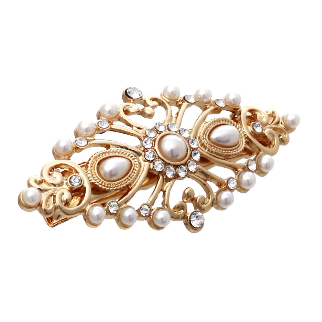Statement Simulated Pearl and Rhinestone Hair Clip Barrette (Gold Tone)