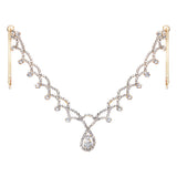 Crystal Rhinestone Teardrop Tikka Hair Comb Head Chain (Gold)