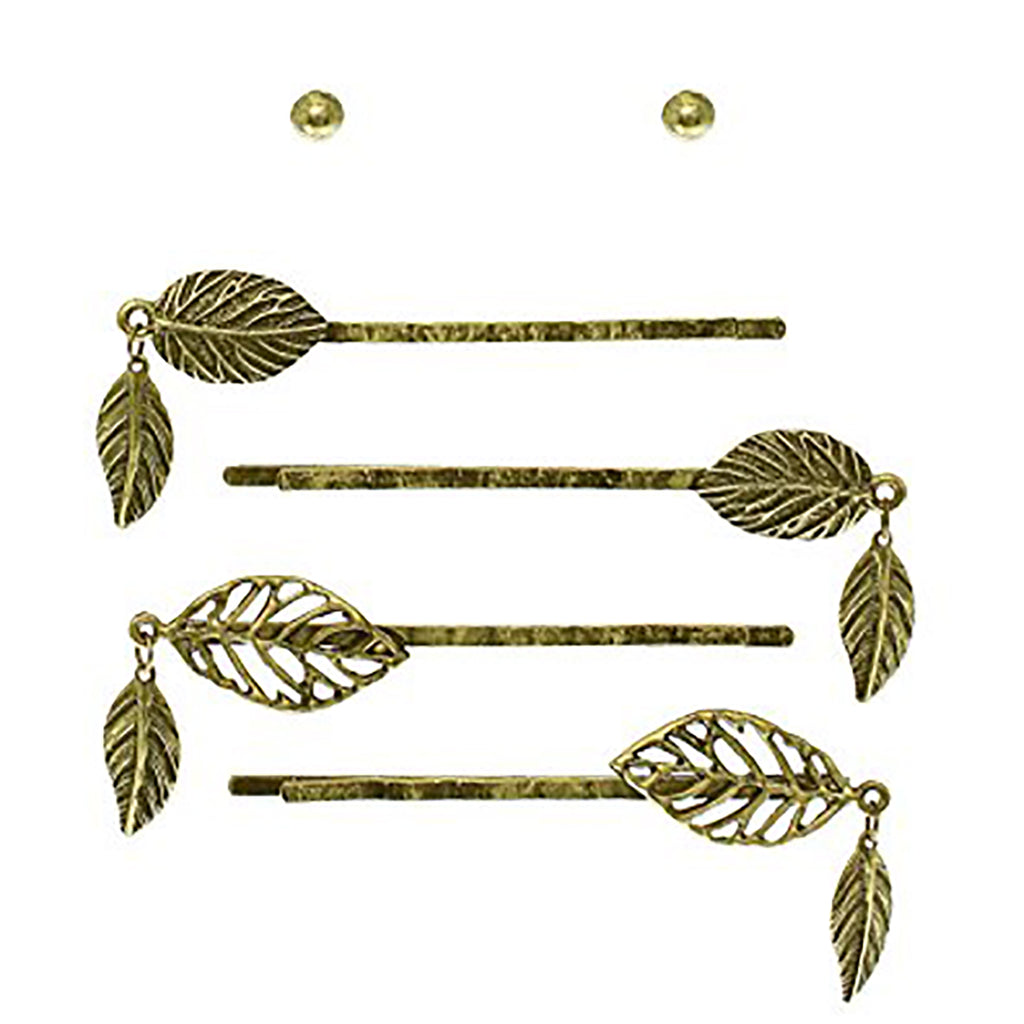 4 Bobby Pins with dangle Leaf Design and Earrings Set (Gold)