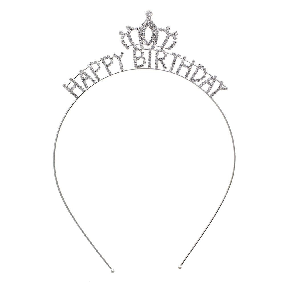 Happy Birthday Rhinestone Tiara Crown