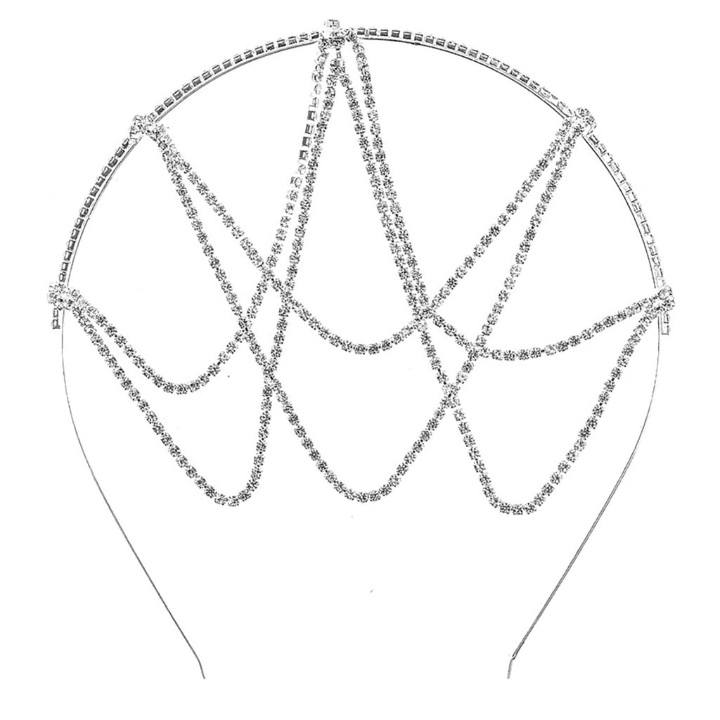 Unique Drape Design Crystal Rhinestone Head Chain Headband