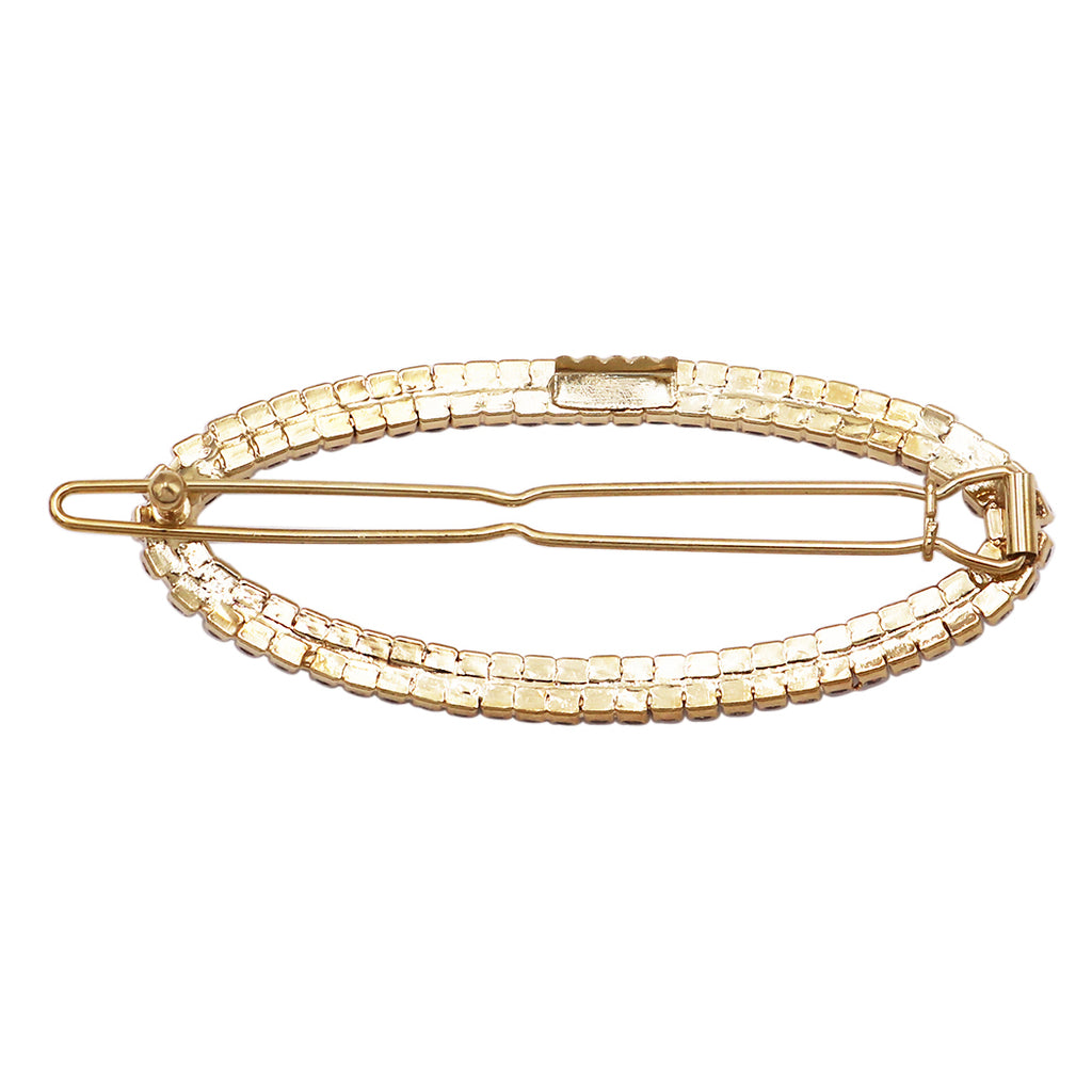 Stunning Oval Crystal Rhinestone Hair Barrette Clip (Gold Tone/Clear Crystals)