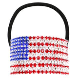 Women's USA Red White and Blue Crystal Embellished Flag Ponytail Holder