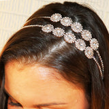 Split Double Row Flower Detail Crystal Rhinestone Fashion Headband