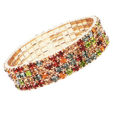 Multicolored 4 Row Crystal Rhinestone Multi Size Stretch Bracelet