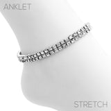 Double Row Crystal Rhinestone Stretch Ankle Bracelet Anklet (Silver Tone)