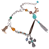Western Style Turquoise and Charms Boot Chain Vegan Suede Anklet Bracelet Jewelry