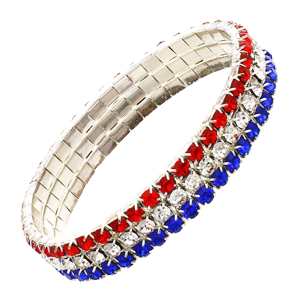 Red White and Blue Rhinestone Stretch Patriotic Bracelet