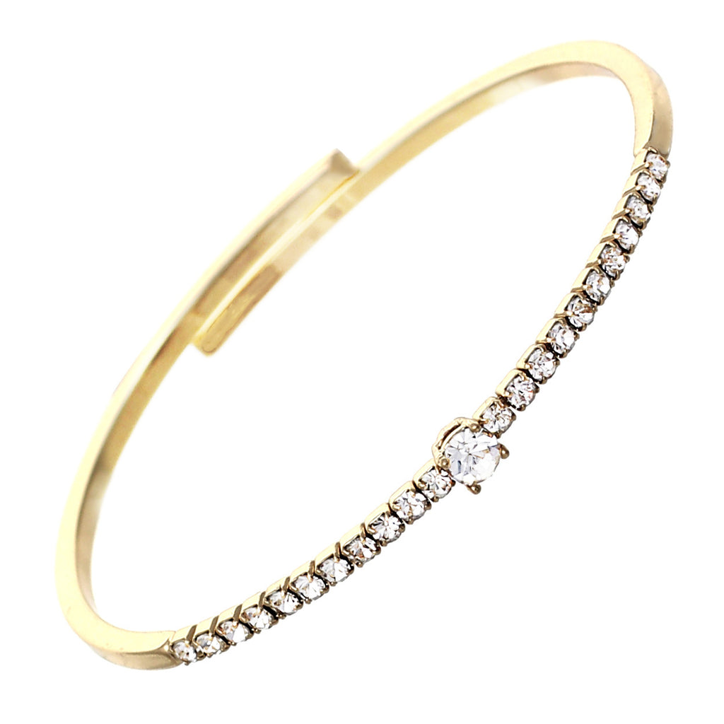Comfort Flex Bangle Bracelet Cuff with Crystals (Gold)