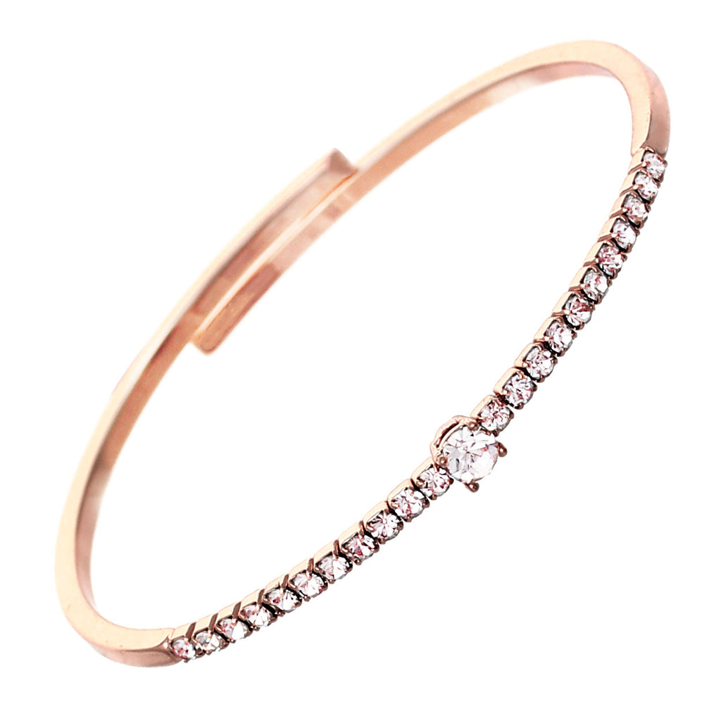 Comfort Flex Bangle Bracelet Cuff with Crystals (Rose Gold)