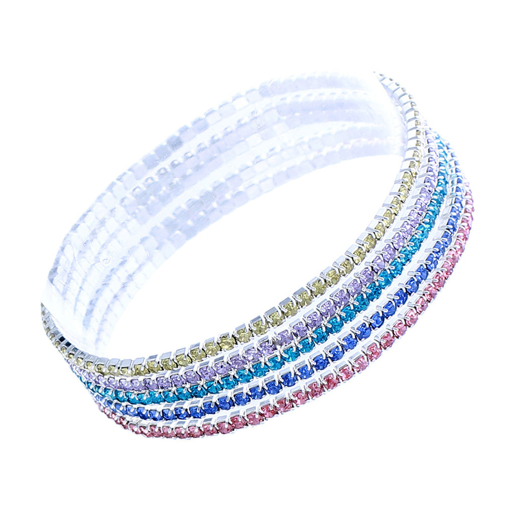 Set of 5 Rhinestone Stretch Bracelets (Silver Tone/Pastel Rainbow)