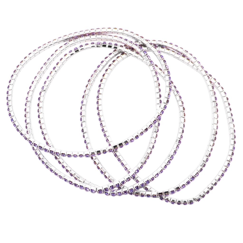 Set of 5 Rhinestone Stretch Bracelets (Violet Purple)