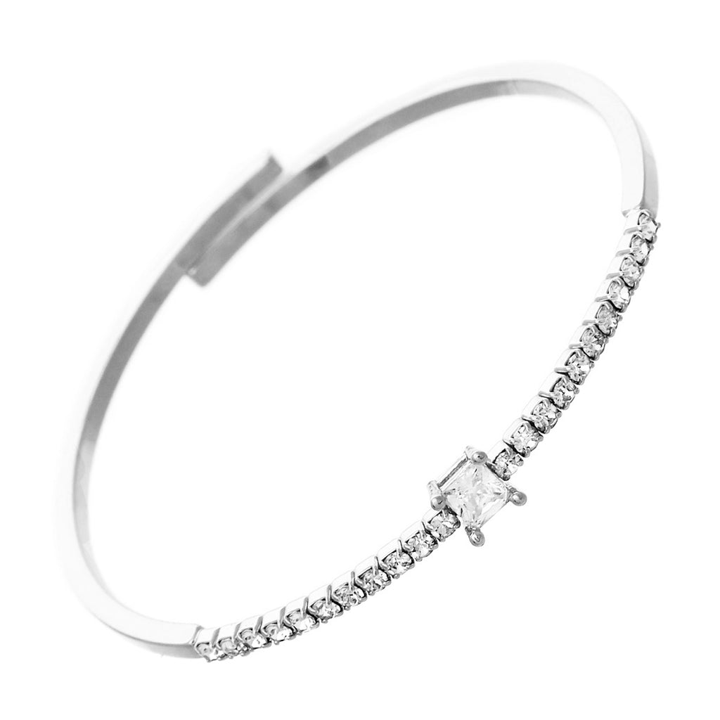 Comfort Flex Bangle Cuff Bracelet with Crystals (Silver)