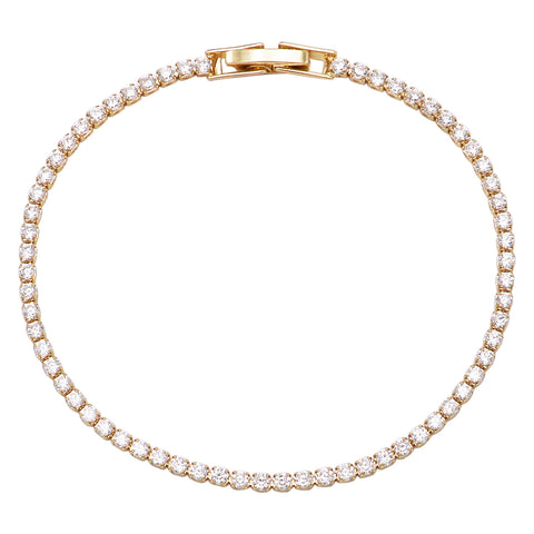 Single Strand 4mm Premium Cubic Zirconia Crystal Tennis Bracelet (Rose Gold Tone)