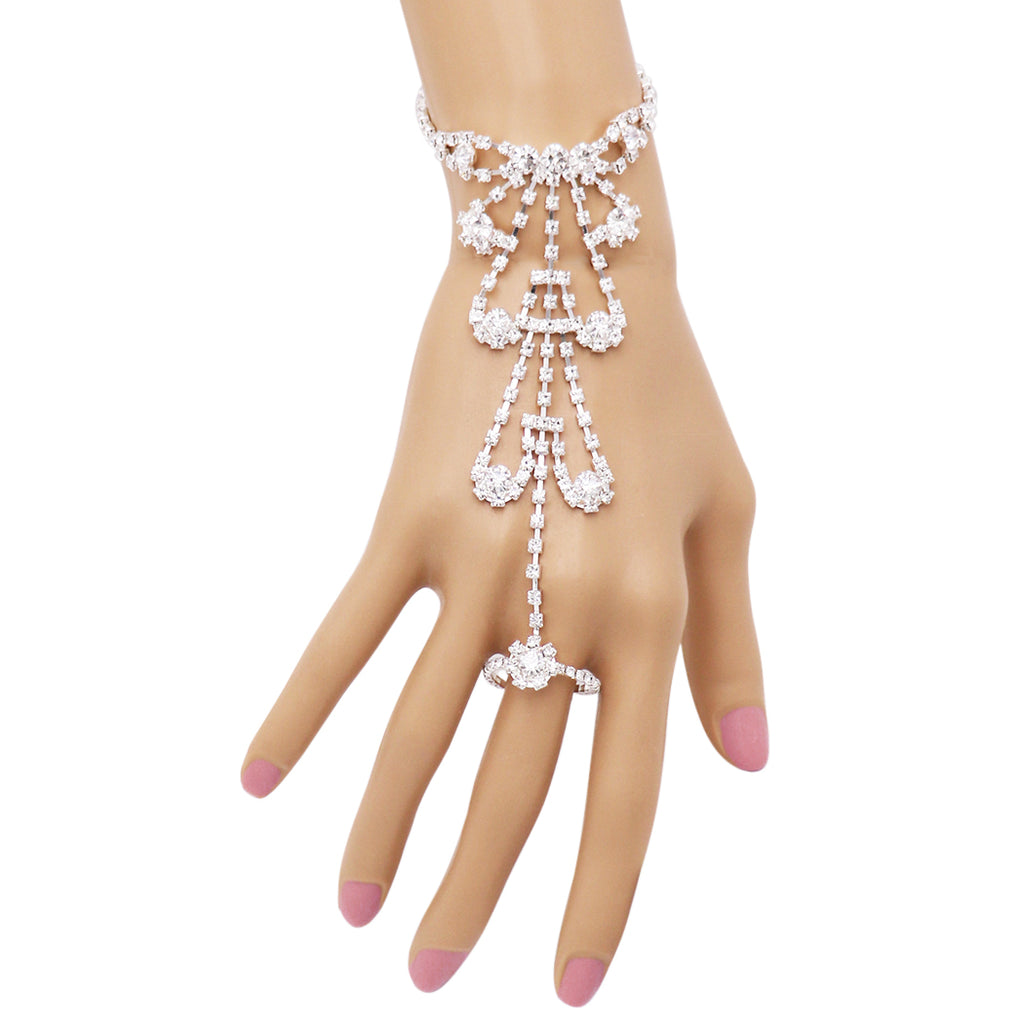 Rhinestone Heart Hand Chain Bracelet and Ring