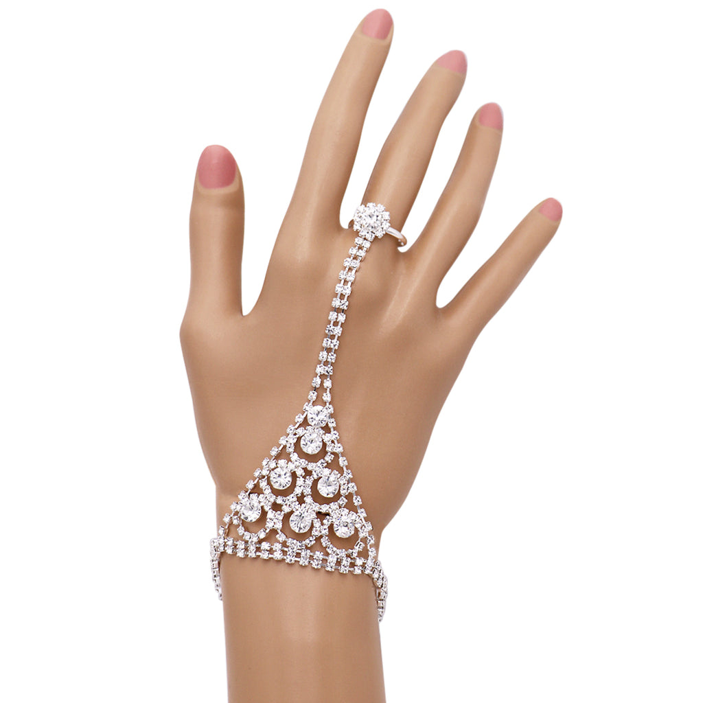 Crystal Rhinestone Triangle Hand Chain Bracelet and Ring