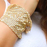 Unique Set of 2 Statement Chain Mail Metal Mesh Dangle Bracelets