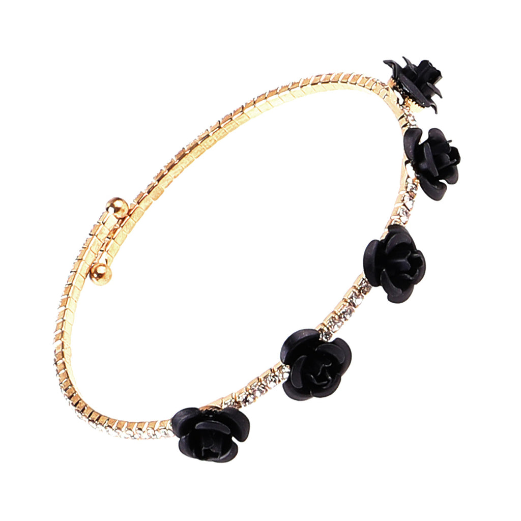 Adjustable Fashion Rhinestone and Petite Black Rose Wrap Bangle Bracelet