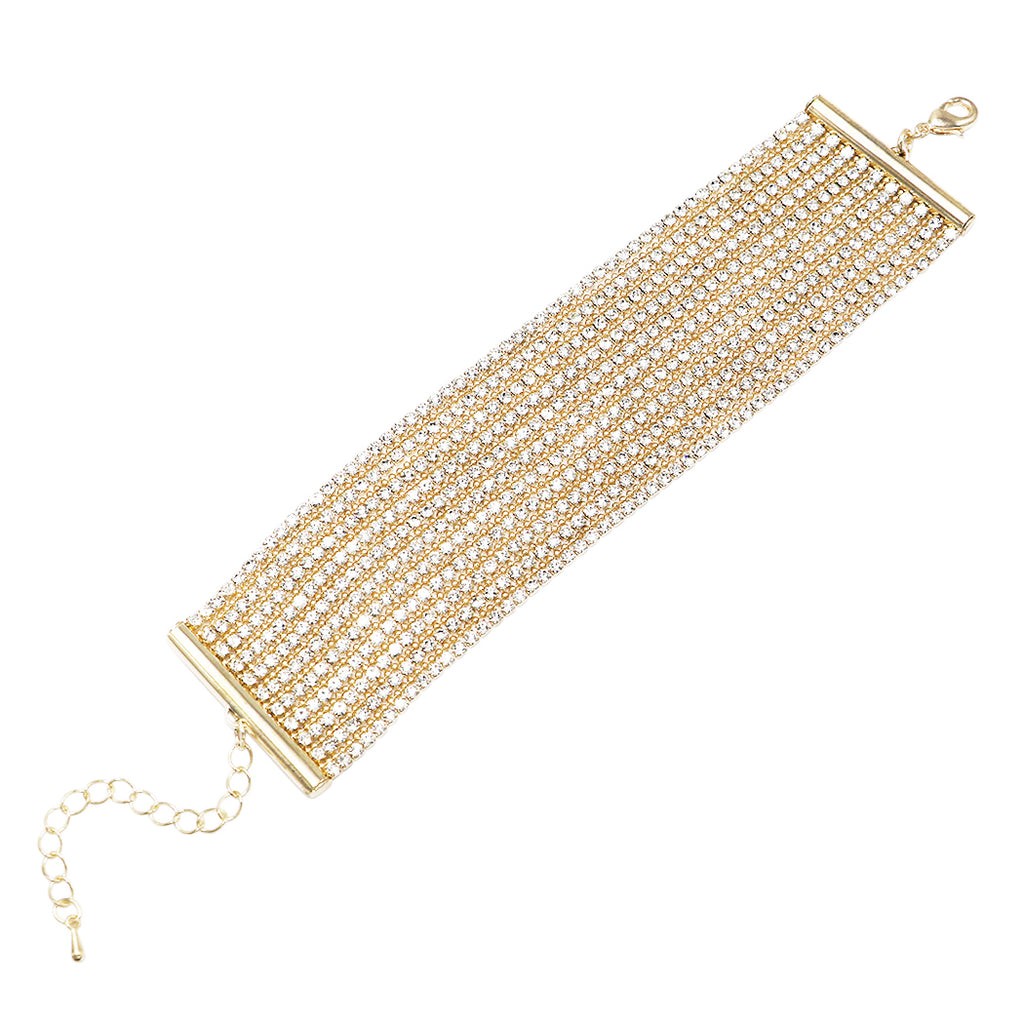 Stunning Adjustable Multi Strand Rhinestone Statement Bracelet (Gold color)