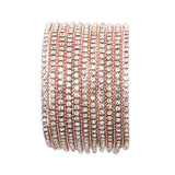 Rose Gold Color Rhinestone Multi Strand Bracelet