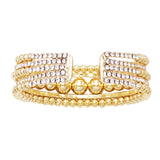 Timeless Gold Tone Metal Bead and Rhinestone Multiple Strand Cuff Bracelet