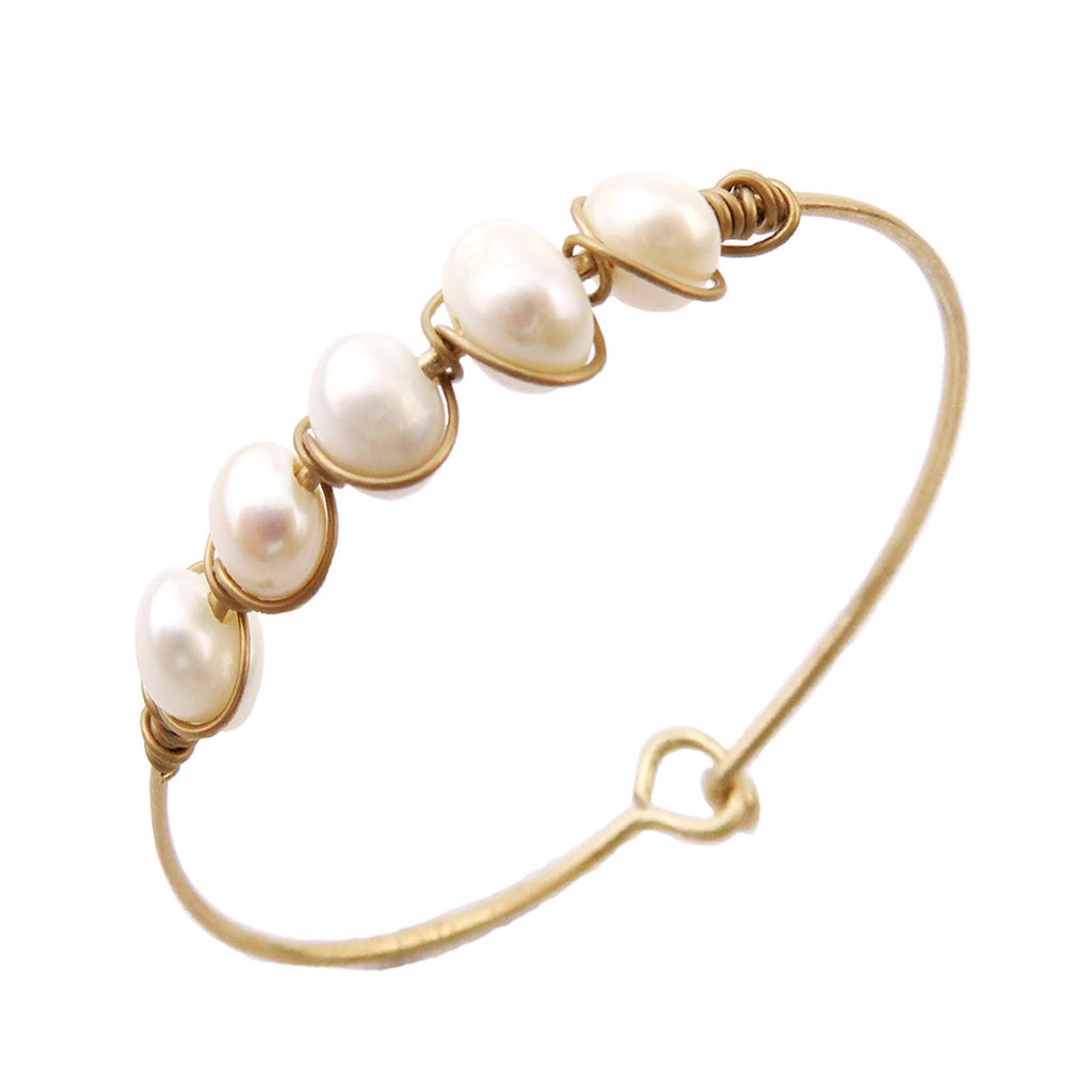 Thin Metal Bangle Bracelet with Wire Wrapped Faux Pearls