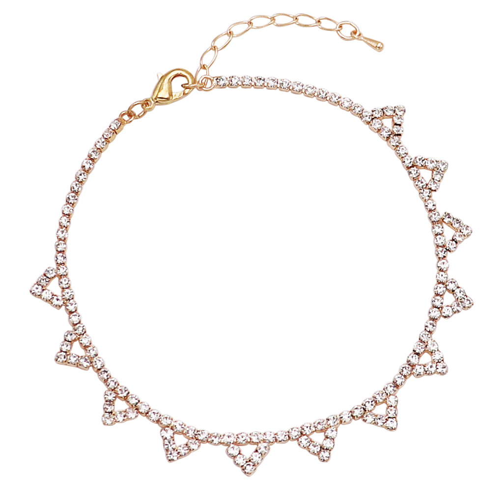 Rhinestone Crystal Ankle Bracelet With Triangle Detail (Gold)