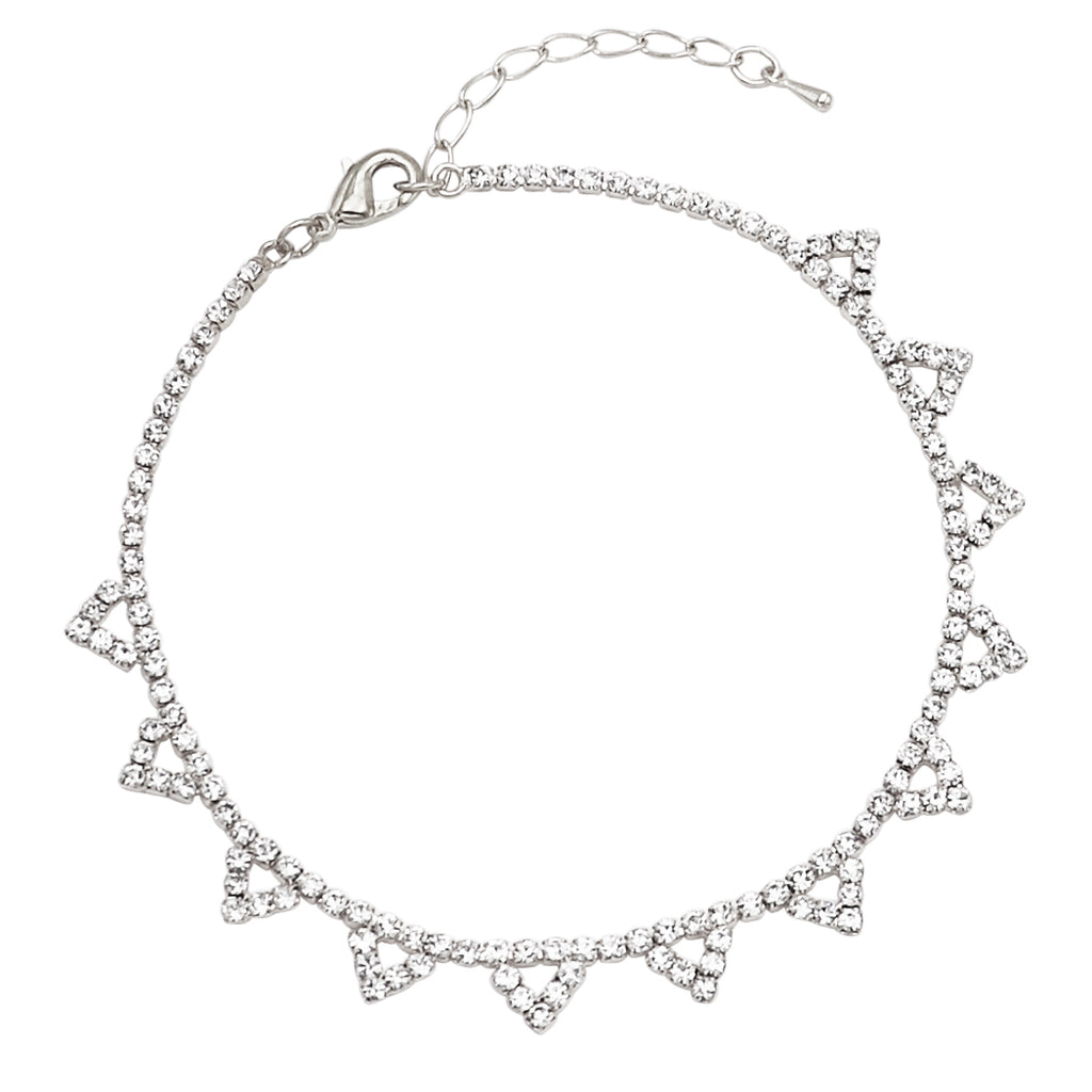 Rhinestone Crystal Adjustable Ankle Bracelet With Triangle Detail (Silver)