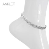 Rhinestone Crystal Ankle Bracelet Double Row with Center Stone Detail (Silver)