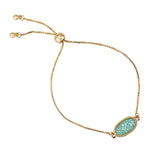Bolo Style Adjustable Bracelet with Faux Druzy Stone (Aqua Blue)